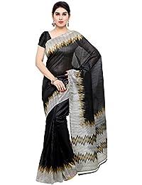 Oomph! Women's Printed Bhagalpuri Silk Sarees - Charcoal Black & Slate Grey
