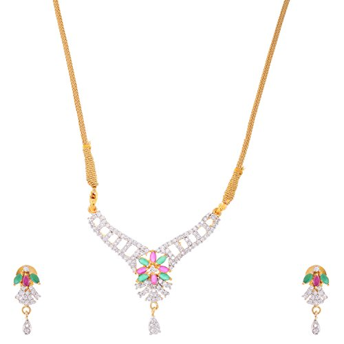 Bharat Sales Gold Plated Multi Alloy Necklace Set For Women - B00YPASGW0