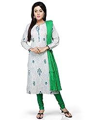 Vastra Vinod White Cotton Readymade Kurti With Legging