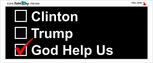 Trump and Clinton Halloween Costumes - Choose Edgy or Funny - GOD HELP US ELECTION 2016 - Anti Hillary Anti Trump Political Bumper Sticker