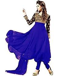 Surat Tex Blue & Black Color Party Wear Embroidered Georgette Semi-Stitched Anarkali Suit-H986DL17A