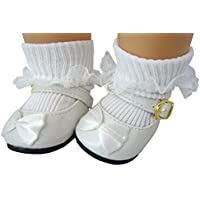 """White Patent Mary Jane Shoes With Satin Bows & White Lace Trim Socks For 15"""" Bitty Baby Dolls & Bitty Twins"""