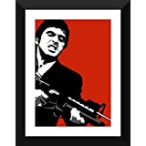 Graphic Art Poster - Scarface - Tony Montana - Say Hello To My Little Friend - Hollywood Collection - Movie Poster Collection - Small Size Ready To Hang Framed A3 Size Poster (12 Inches X 17 Inches) For Home And Office Interior Decoration By Tallenge