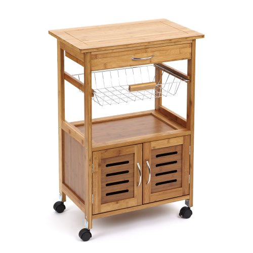 Marston Wooden Kitchen Trolley with natural wood worktop ...