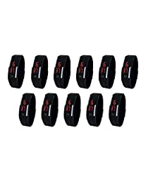 NAVRATRI SPECIAL COMBO Rubber Magnet Band Set Of 11 Led Digital Watch