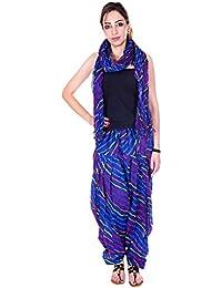 Manasvi Innovation Women's Cotton Patiala Salwar And Dupatta (Blue And Purple)