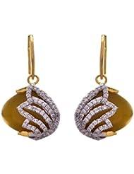 JFL- Fusion Ethnic One Gram Gold Plated Peacock Cz American Diamond Designer Earrings For Women And Girls.
