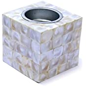White Color'S Mother Off Pearl Squir Tea Light Holder