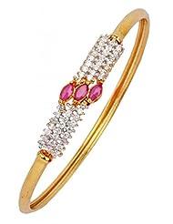 The Jewelbox American Diamond CZ Eternity Red Openable Kada Bangle Bracelet