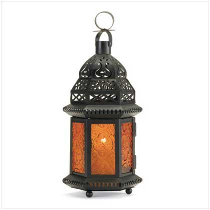 Gifts & Decor Yellow Glass Moroccan Lantern Candle Holder Light Decor