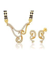 "Peora Valentine 18 Karat Gold Plated Cubic Zirconia ""Shayna"" Mangalsutra Earrings Set (PM53GJ)"
