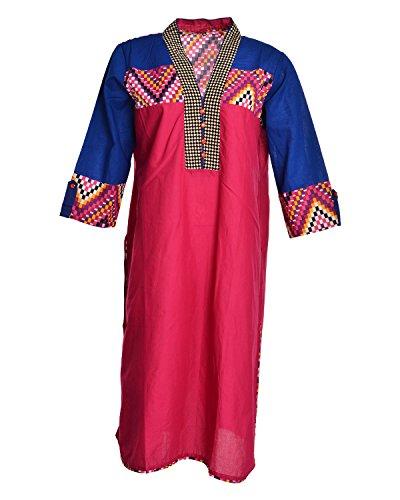 Global Women's Cotton Straight Kurta (GW34MagentaXL015, Red, XL)