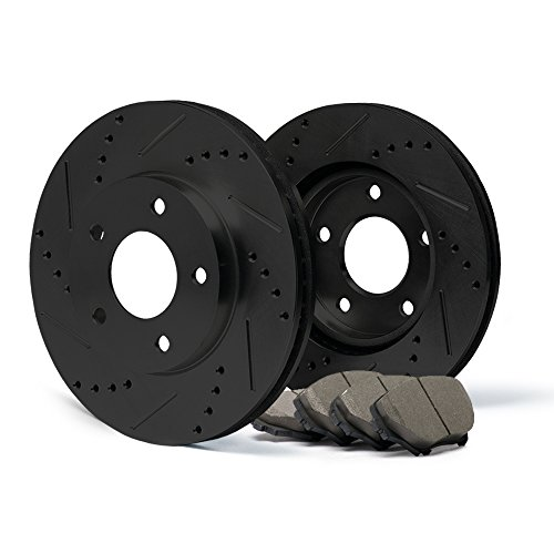 Max KT000781 [ELITE SERIES] Front Performance Slotted & Cross Drilled Rotors and Ceramic Pads Combo Brake Kit