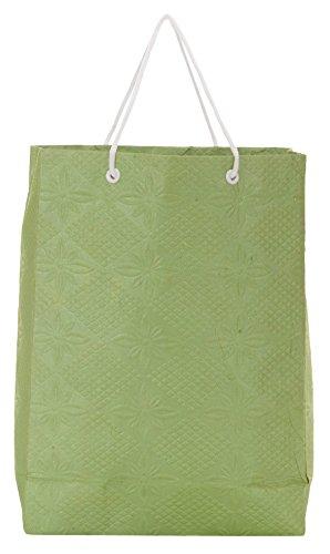 Utsav Kraft Paper 3 Ltrs Green Reusable Shopping Bags (pack Of 10)
