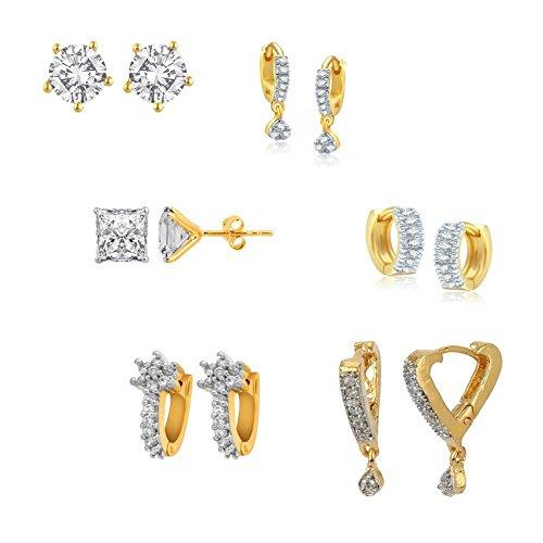 Zeneme Gold-Plated American Diamond Hoop Earring For Women And Girls Set Of 6