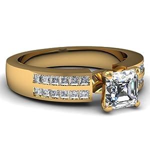 Fascinating Diamonds Princess Fretwork Engagement Ring 0.80 Ct Asscher Cut Diamond VVS2-F Color 14K GIA
