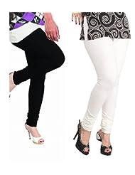 Lux Womens Churidar Cotton Leggings (Set Of 2) - L 10-11