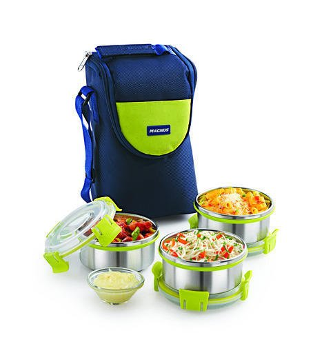 Magnus Fresh Meal Aura 3 Stainless Steel Containers Lunch Box With Clip Lock & Bag (3pcs Set)