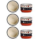 Dip And Sauce Round Serving Bowl Ceramic/Stoneware In Orange And Black Circles (Set Of 6) Handmade By Caffeine
