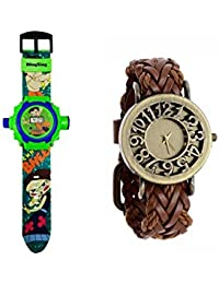 24 Images CHHOTA BHEEM Projector Watch For Kids WITH FREE LEATHER STRAP WOMEN WATCH