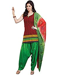 Vineberi Beautiful And Gorgeous Unstitched Cotton Printed Red And Black Salwar Suit Dress Material With Dupatta...