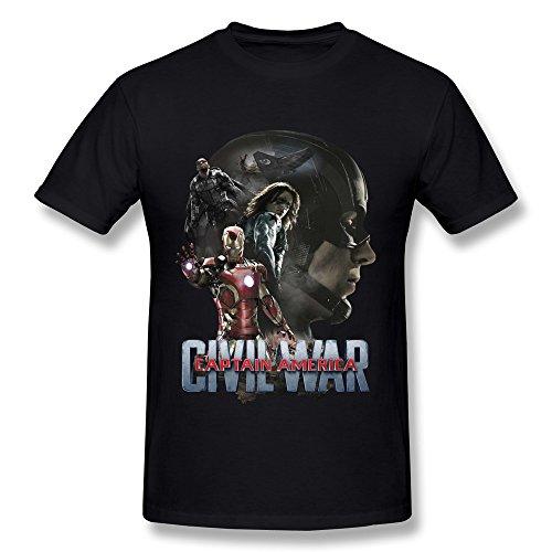 IHoo Men's Captain America Civil War T-shirt L Black