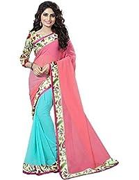 SareeShop Women's Light Pink Chiffon Saree (Flower-804_Pink_Firozi)