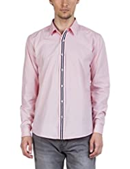 Zovi Men's Cotton Regular Fit Light Pink Solid Casual Shirt With Contrast Placket - Full Sleeves (10528803101)
