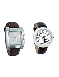 Gledati Men's White Dial & Foster's Women's White Dial Analog Watch Combo_ADCOMB0002260