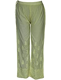 Lucknowi Chikan Hand Embroidery Women's Ethnic Cotton Palazzo Pant By ADA A115851