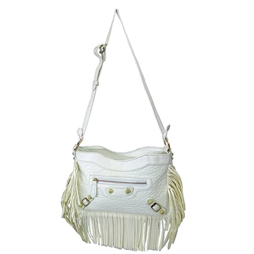X-WELL Girls Sling Bag White Synthetic Leather BHM-01-A