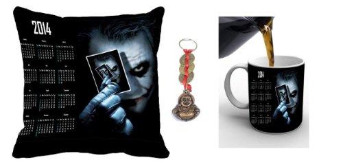 Happy New Year Digital Print Satin Cotton Cushion Cover And Ceramic Mug Combo - Multicolor (Calendar-combo-13)...