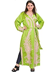 Exotic India Parrot-Green Robe From Kashmir With Ari Embroidered Paisley - Green