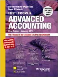 First Lessons in Advanced Accountancy for CA. IPCC-Book  2017- M. P. Vijay Kumar
