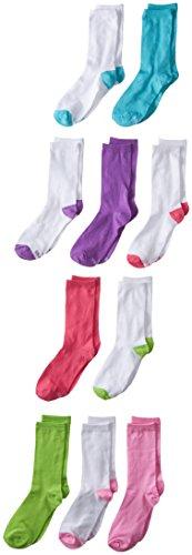 Hanes Girls' 10-Pack Crew Socks, Assorted Shoe Size, 10 1/2-4