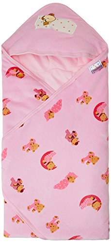 Tiny Care 375 A_P Baby Hooded Wrapper Colour Printed (Pink)