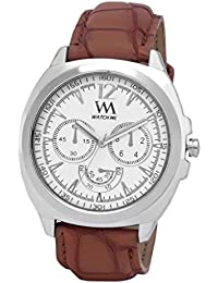 WATCH ME WHITE BROWN LEATHER ANALOG WATCH FOR MEN AND BOYS WM-038-W