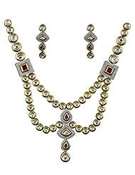 Anuradha Art Golden-Pink Kundan Jewellery Set For Women - B014HGI83I
