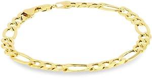 Klassics 10k Yellow Gold 7.5mm Figaro Men's Bracelet, 8.5
