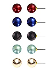 Set Of 5 Pearl Stud Earrings By Via Mazzini (8mm)