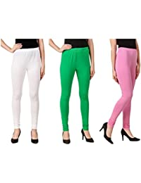 Svadhaa White Green Light Pink Cotton Lycra Leggings(Pack Of 3)