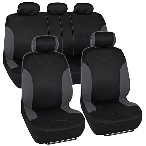 Charcoal Trim Black Car Seat Covers Full 9pc Set – Sleek & Stylish – Split Option Bench 5 Headrests Front & Rear Bench