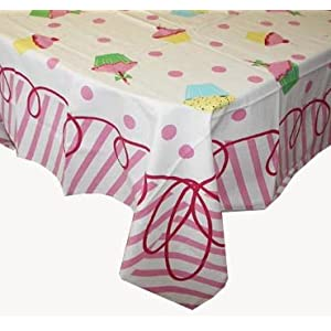 Happy Birthday Tablecloth - Polka Dots &  Cupcakes in Pink