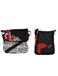 Combo Of Beautiful Black Sling With Flower Bunch With Black Small Sling Bag