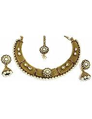 Shingar Jewellery Ksvk Jewels Antique Gold Plated Polki Kundan Look Necklace Set For Women - B00QFEKV4A
