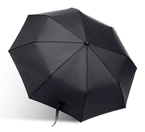 Coomatec Parapluie Noir Classique de Voyage Pliable Automatique, Ultraléger, Auvent de couleur noire