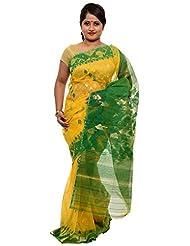 Beautiful Yellow And Green Dhakai Jamdani Cotton Silk Saree (JOSR0000086, Green & Yellow)