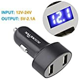 RT-CC017 : Car Power Splitter Rocketek Dual USB Car Charger Socket Adapter   Buil In Meter   Car Charger For IPone...