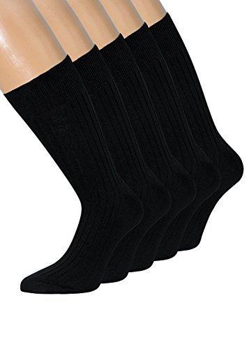 Herrensocken ohne Gummi schwarz 100% Baumwolle Socken ohne Gummibund ohne Gummizug für Herren Gr 43-46, 10 Paar