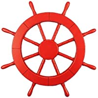 "Red Ship Wheel 18"" - Ship Wheel On A Boat - Decorative Ship Wheel"
